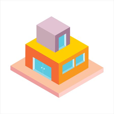 Isometric building vector. 3d Isometric illustration of building vector icon Çizim