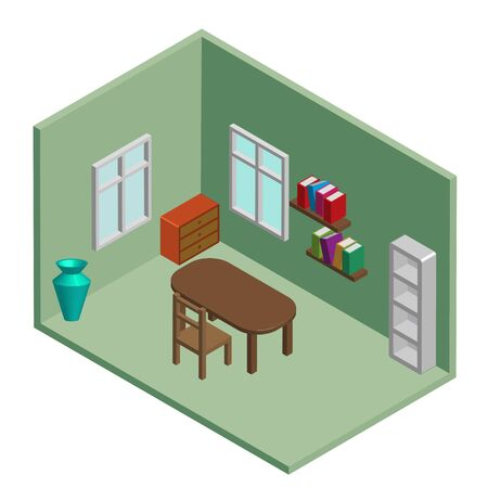 Vector isometric low poly room with furniture