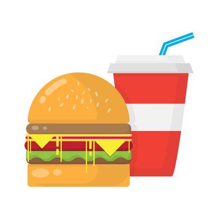 Hamburger and soda isolated illustration on white background
