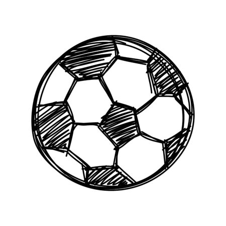 Hand draw football ball isolated illustration on white background