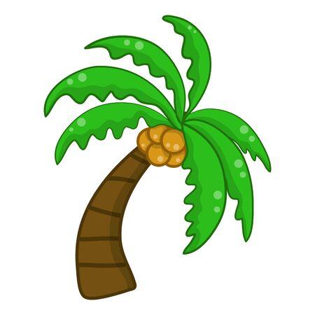 Coconut palm tree isolated illustration on white background