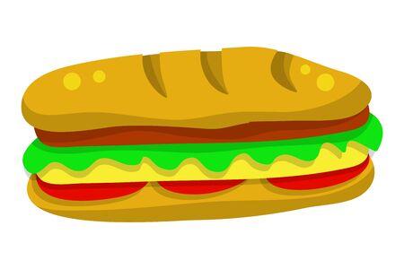 Hamburger fast food isolated illustration on white background
