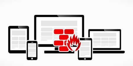 barrage: Computer firewall abstract red symbol vector illustration