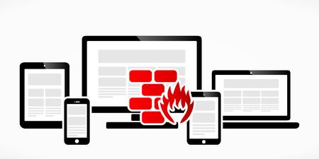 sandbox: Computer firewall abstract red symbol vector illustration