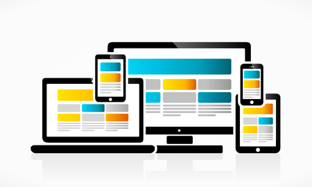design web: Responsive web design suitable for desktop, tablet or mobile device Illustration