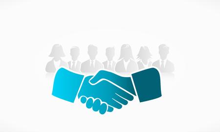 negotiations: Se dan la mano con un grupo de gente en el fondo