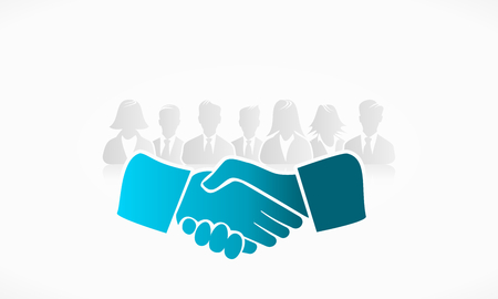 Shake hands with group of people in the background