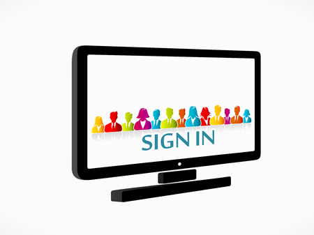 Sign in on a social media network from your desktop Stock Vector - 22680888