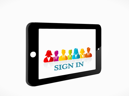 Sign in on a social media network from your tablet Stock Vector - 22680890