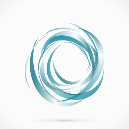 recycling logo: Blue vector abstract circle liquid water illustration
