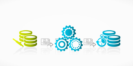 Database log shipping abstract process vector illustration Illustration