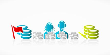solucion de problemas: Resumen de la base de datos puesta a punto y soluci�n de problemas de la ilustraci�n de atenci�n al cliente Vectores