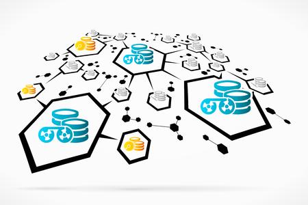 harddisk: Abstract tape and hard-disk database backup network illustration