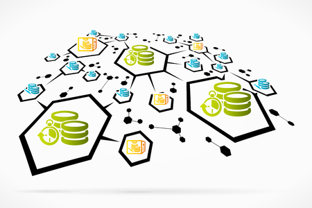 centralize: Abstract data manipulation and deployment vector illustration Illustration
