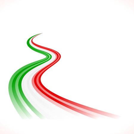 Abstract waving Italian, Mexican, Hungarian and Iranian flag Ilustração