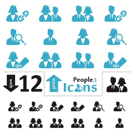 Vector people icon set for web and print part one
