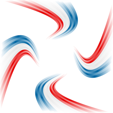 Abstract waving American, English and French flag