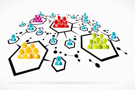 Résumé des groupes de réseaux de médias sociaux illustration vectorielle d'affaires