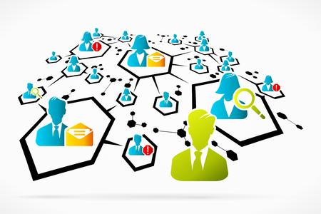 interactions: Abstracte netwerk interacties social media business vectorillustratie