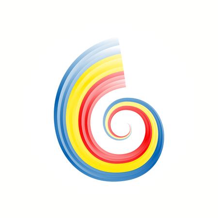 nationalist: Abstract swirl Romanian, Andorra, Chad and Moldavian flag Illustration