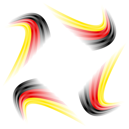 nationalist: Abstract waving German flag isolated on white background Illustration