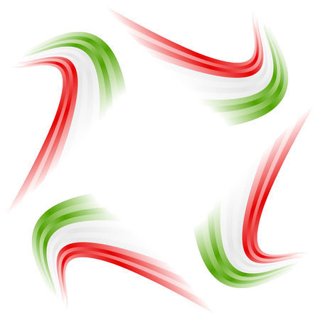 Abstract waving Italian, Mexican, Hungarian and Iranian flag Illustration