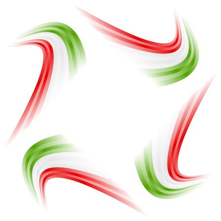 Abstract waving Italian, Mexican, Hungarian and Iranian flag Illustration