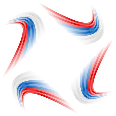 Abstracte golvende Russische, Tsjechische en Slowaakse vlag