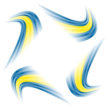 Abstract waving Swedish flag isolated on white background Ilustração