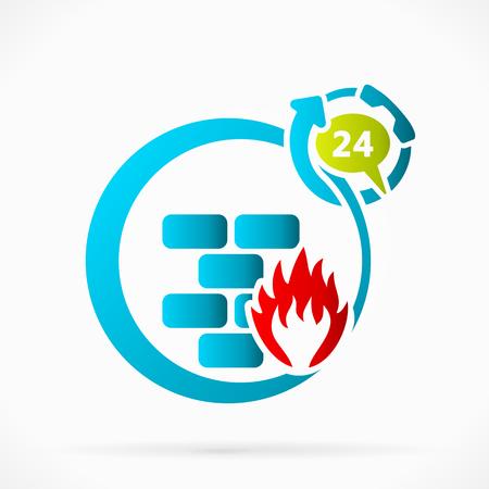 twenty four hours: Twenty four hours active network firewall illustration Illustration