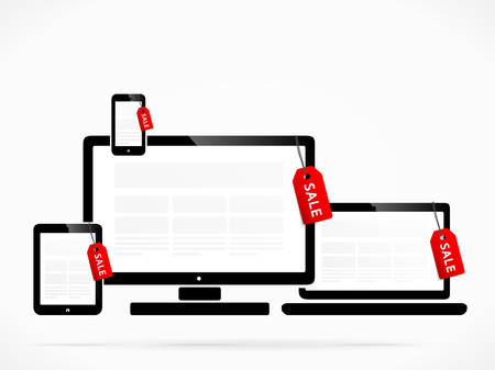 enabled: Red sale labels on internet enabled devices Illustration