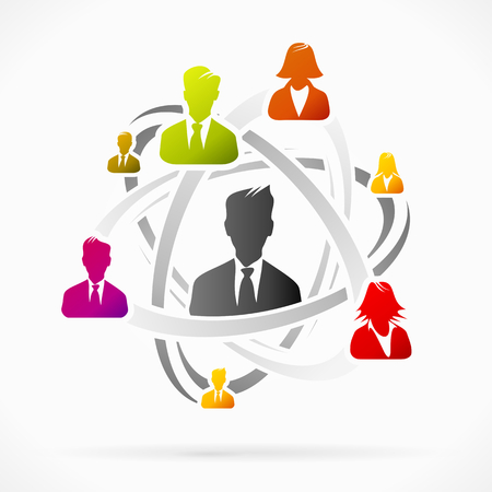 Abstract concept about business network team