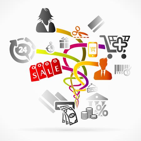 Abstract logo about shopping, concept vector illustration Stock Vector - 22959015
