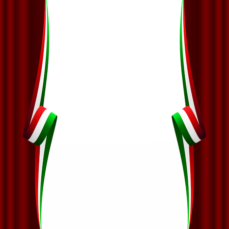 iranian: Abstract Italian, Mexican, Hungarian and Iranian curtain flag