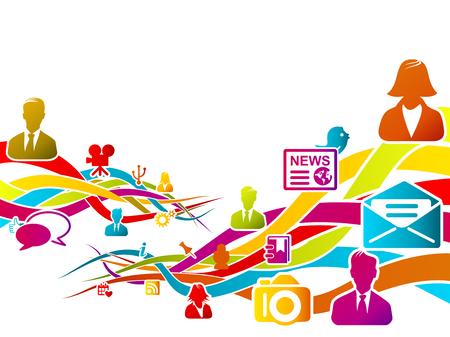 Abstracte logo over social media, concept vector illustratie