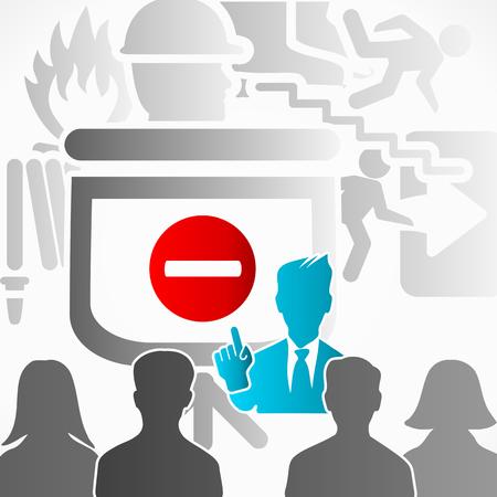 preventive: Safety presentation speaker among people Illustration