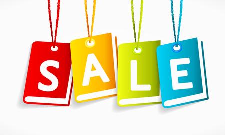 price cut: Multicolor vettore vendita di libri etichette isolate su una lavagna Vettoriali