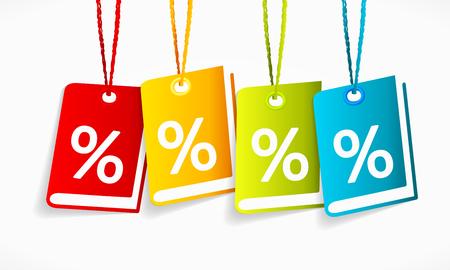 price cut: Multicolori vettore vendita etichette libro isolato su un bordo bianco