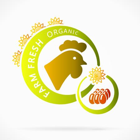 farm fresh: Uova di gallina biologiche, fattoria fresco illustrazione astratta