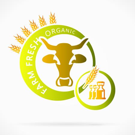 yogurt natural: Leche de vaca orgánica, granja fresca ilustración abstracta