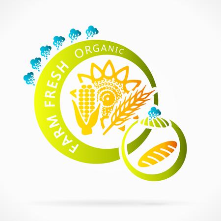 farm fresh: Cereali biologici, freschi della fattoria illustrazione astratta Vettoriali