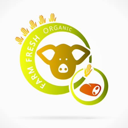 integral: Carne de cerdo org�nico, granja fresca ilustraci�n abstracta