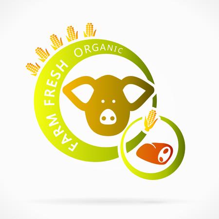 vigorous: Organic pork meat, farm fresh abstract illustration Illustration