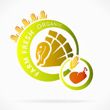 farm fresh: Carne di tacchino biologico, freschi della fattoria illustrazione astratta Vettoriali