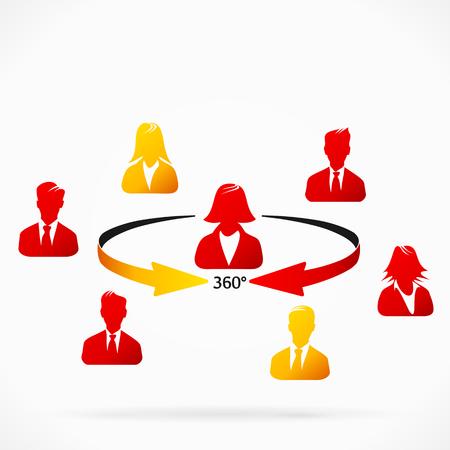 Zakelijke vrouw die 360 negatieve feedback van collega's Stock Illustratie