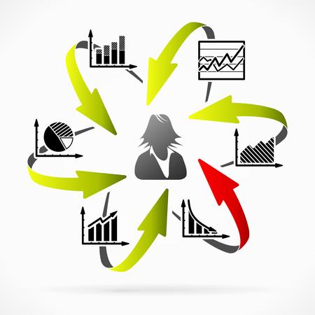 女性実業家: 財政上の問題についての分析を実行するビジネス ・ ウーマン