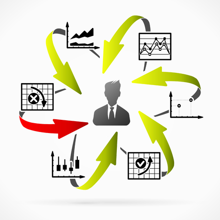 Business man performing analysis about financial problems Illustration
