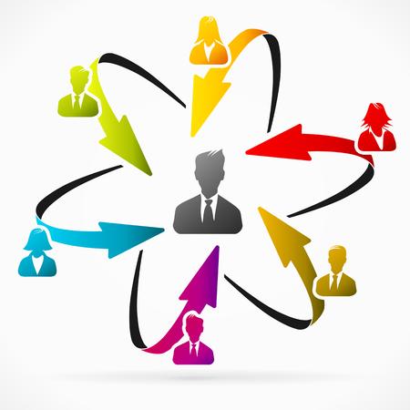 Begrip vector illustratie over zakenman leider Stock Illustratie