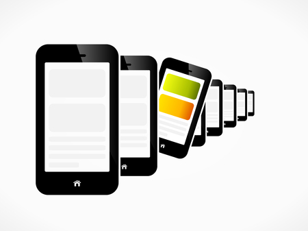 Raw of mobile phones devices abstract illustration Stock Vector - 23080653