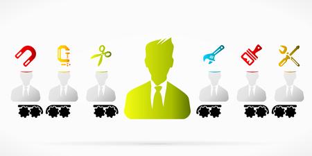 brainwash: Businessman brainwash propaganda pattern abstract vector illustration